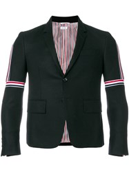 Thom Browne Striped Elastic Seam Wool Sport Coat Black