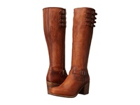 Frye Kelly Belted Tall Cognac Washed Oiled Vintage Cowboy Boots Brown