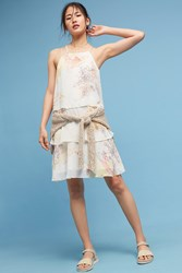 Anthropologie Tiered And Beaded Floral Dress White