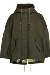 Stella Jean Wool And Alpaca Blend Hooded Coat Army Green