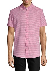 Report Collection Striped Short Sleeve Button Down Shirt Pink