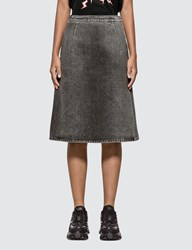 Prada Washed Denim Mid Skirt Black
