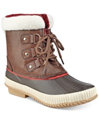 Tommy Hilfiger Ebonie Lace Up Duck Booties Women's Shoes Brown