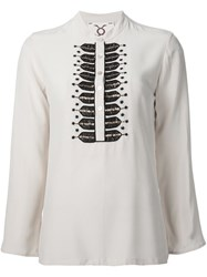 Figue 'Fiamma' Embellished Tunic Top White