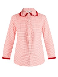 Jupe By Jackie Herodes Velvet Trimmed Cotton Gingham Shirt Red White