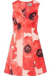 Lela Rose Floral Print Silk Gazar Dress Papaya