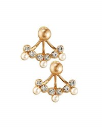Lydell Nyc Crystal And Simulated Pearl Front Back Drop Earrings Cream