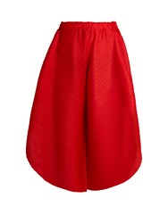 Issey Miyake Triangle Cut Wide Leg Trousers Red