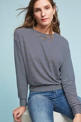 Anthropologie Raye Striped Sweatshirt Navy