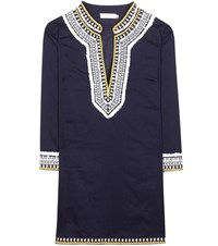 Tory Burch Embroidered Cotton Tunic Blue