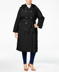London Fog Plus Size Double Breasted Hooded Trench Coat Black