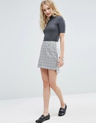 Asos A Line Mini Skirt In Wool Mix Grey