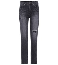 Saint Laurent High Waisted Slim Fit Jeans Black