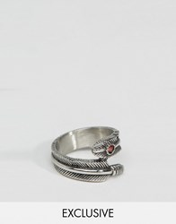 Reclaimed Vintage Gen Feather Ring In Silver Silver