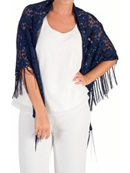Chesca Floral Lace Shawl Dark Navy