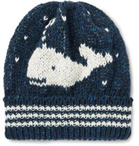 Thom Browne Whale Jacquard Knit Wool And Mohair Blend Beanie Storm Blue
