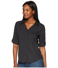 Royal Robbins Expedition Chill Stretch 3 4 Sleeve Top Jet Black Long Sleeve Button Up