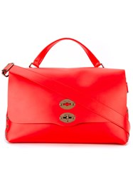 Zanellato Large Flap Tote Unisex Leather One Size Red