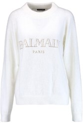 Balmain Crystal Embellished Angora Blend Sweater White