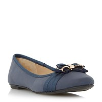 Head Over Heels Hadia Bow Trim Ballerina Shoes Navy