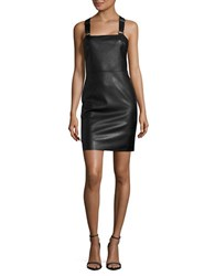 Noisy May Faux Leather Jumper Dress Black