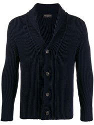 Dell'oglio Button Up Cable Knit Sweater Blue