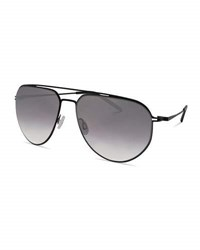 Barton Perreira Men's B010 Mirrored Aviator Sunglasses Matte Black Silver Gradient
