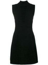 Versace Jeans Sleeveless Textured Dress Polyester Viscose S Black