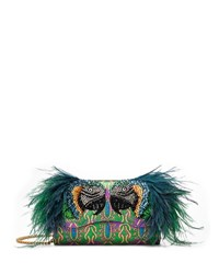 Gucci Broadway Brocade Clutch With Feather Embellishment Multi