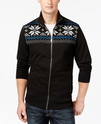 Club Room Big And Tall Sherpa Lined Full Zip Mock Neck Sweater Only At Macy's Deep Black