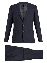 Dolce And Gabbana Martini Fit Notch Lapel Wool Blend Suit Navy