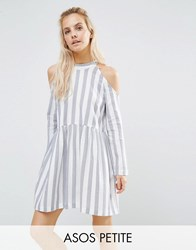 Asos Petite Cold Shoulder Cotton Stripe Smock Dress Multi