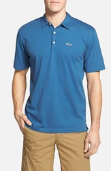 Men's Patagonia 'Trout Fitz Roy' Organic Cotton Polo Glass Blue