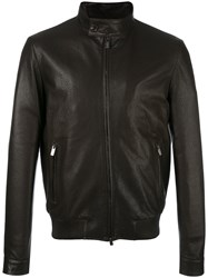 Tod's Band Collar Leather Jacket Brown