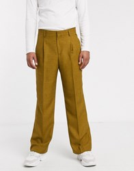 Asos White Volume Smart Trousers In Brown
