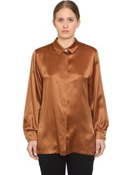 Marina Rinaldi Baluardo Silk Satin Shirt Brown