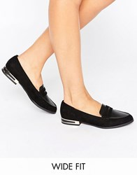 New Look Wide Fit Metal Detail Loafer Black