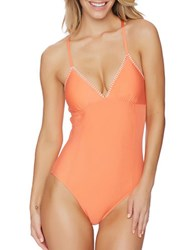 Splendid Stitch Removable Soft Cup One Piece Swimsuit Coral