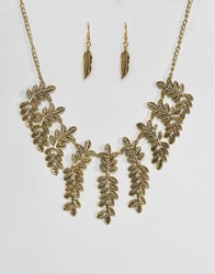 Ruby Rocks Leaf Detail Necklace And Earring Set Silver