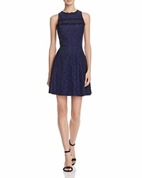 Aqua Lace Trim Fit And Flare Dress Navy Black