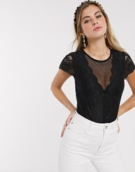 Morgan Cap Sleeve Lace Body In Black