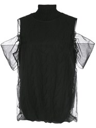 Simone Rocha Encased Cable Knit Top Black