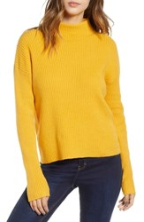 Bp. Ribbed Funnel Neck Sweater Yellow Mineral