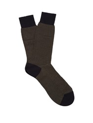 Pantherella Fabian Herringbone Cotton Blend Socks Navy Multi