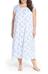 Eileen West Plus Size Women's Jersey Nightgown White Floral