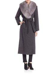 Sofia Cashmere Wool And Fur Trim Wrap Coat Charcoal
