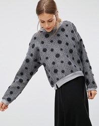 Minimum Pom Pom Sweat Top 980 Dark Grey