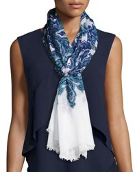Michael Stars Paisley Print Woven Scarf Blue