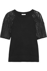 See By Chloe Crocheted Cotton And Wool Top Black