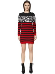 Just Cavalli Jacquard Mohair Wool Blend Knit Dress